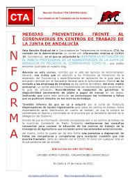 MEDIDAS PREVENTIVAS FRENTE AL CORONAVIRUS EN CENTROS DE TRABAJO DE LA JUNTA DE ANDALUCÍA