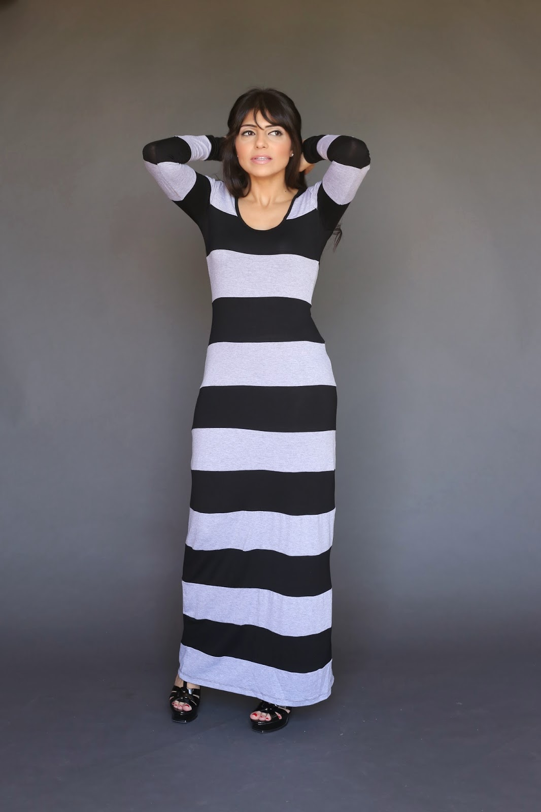 casual jersey long sleeve modest maxi dress with black and grey stripes mormon lds tznius hijab fashion style Mode-sty