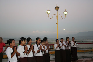 Mandalay hill and full moon