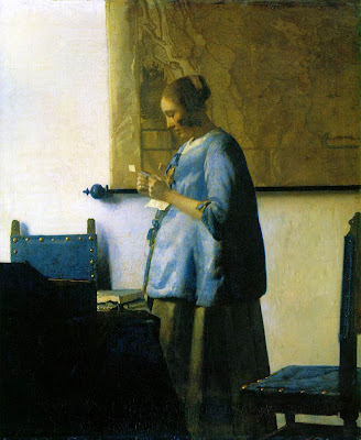 J. Vermeer, Woman in Blue Reading a Letter, c. 1663-1664