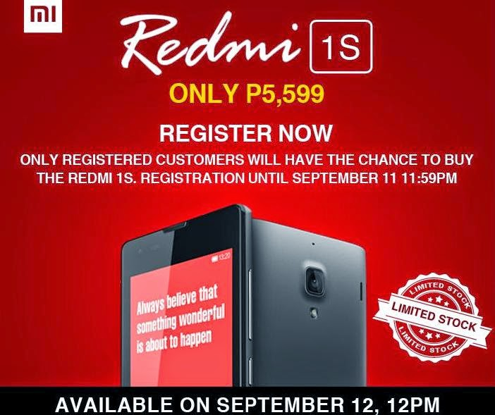 Register Now For A Chance To Buy Xiaomi Redmi 1S This Coming September 12