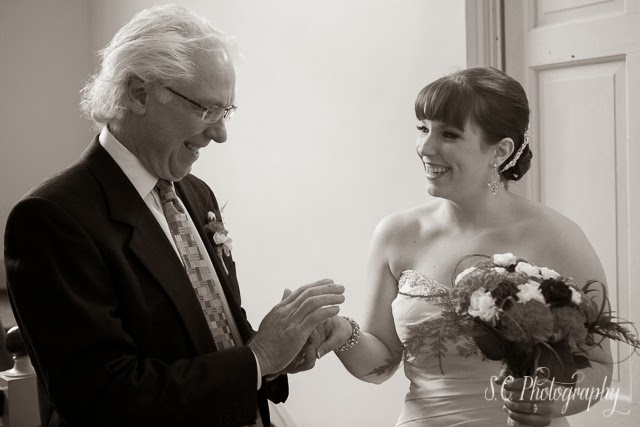 Father and daughter before ceremony