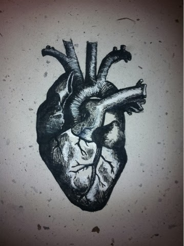 Human Heart - India Ink on Handmade Natural Paper - by emac