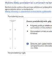 Kontrola konta użytkownika w systemie windows, okno konfig - zrzut