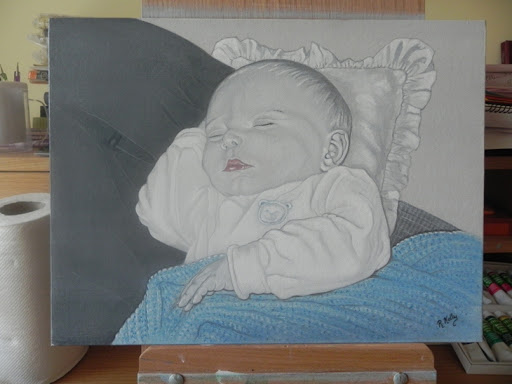 Baby Boy by Ruth Kelly, Acrylic portrait, www.ruths-world.com