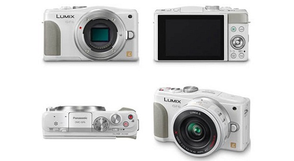 Diverse viste della Panasonic GF6 (fronte, retro, alto, tre quarti)