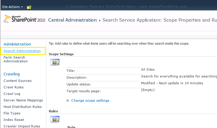 sharepoint 2010 search scope update