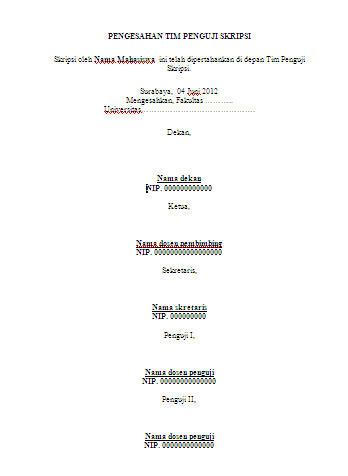 contoh halaman pengesahan tim penguji skripsi