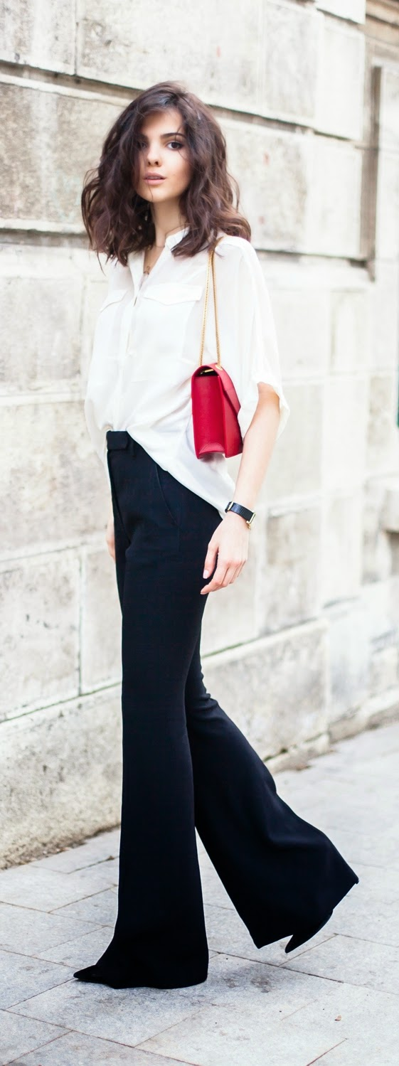 White Sleeve Button Down Shirt with Flared High Waist Pant   Spring/Summer Outfits