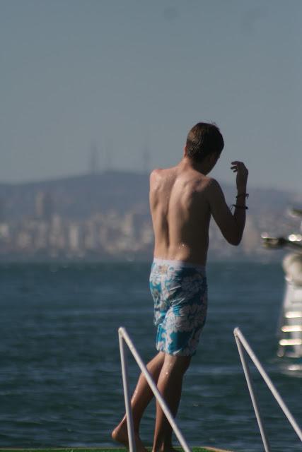 Ruskin on the jetty.