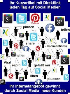 Social Media Werbung für ihre Internetsite