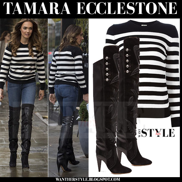 Tamara Ecclestone in striped sweater, skinny jeans and black thigh isabel marant becky boots what she wore