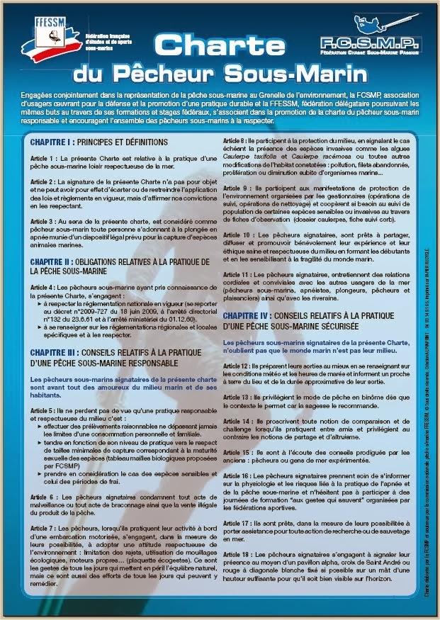 Charte éco responsable du pêcheur sous-marin