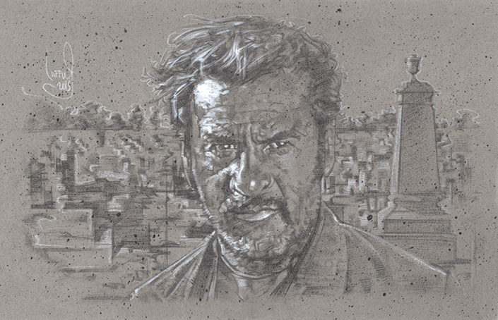 Eli Wallach as Tuco Drawing © JEFF LAFFERTY 2015