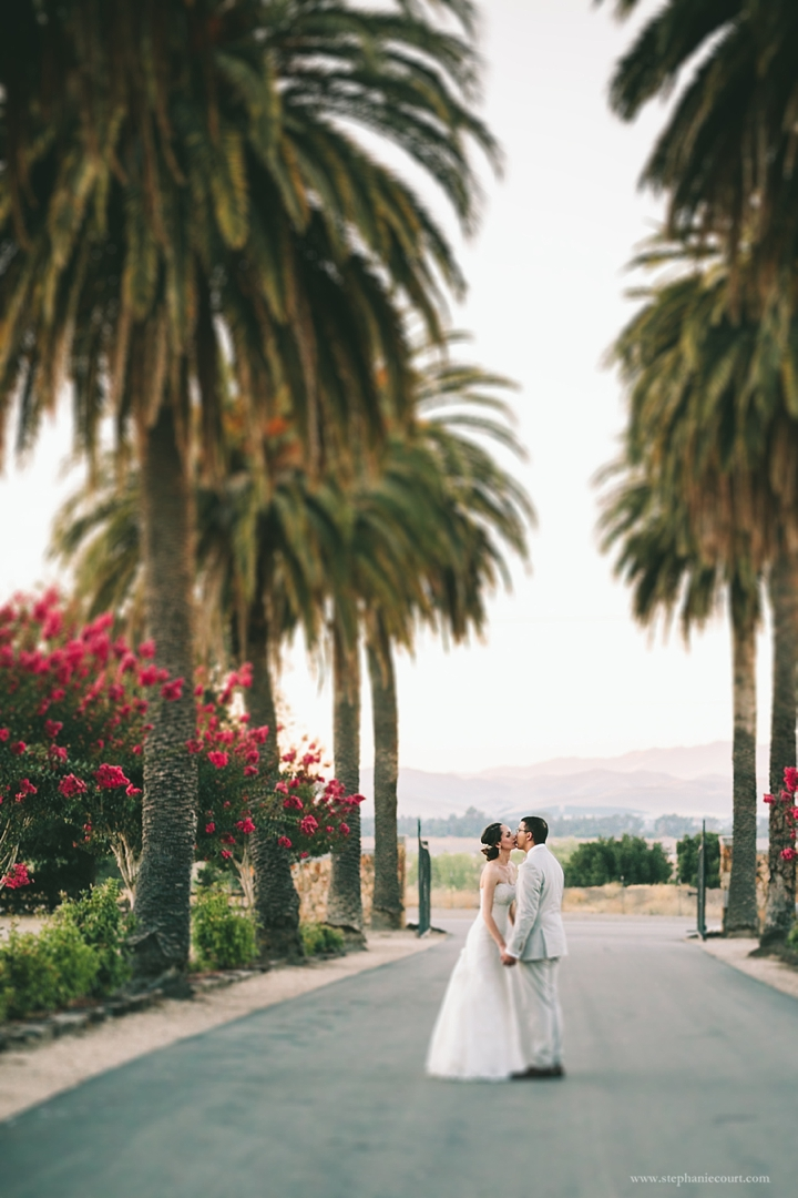 """""""bride and groom sunset photo at palm event center"""""""