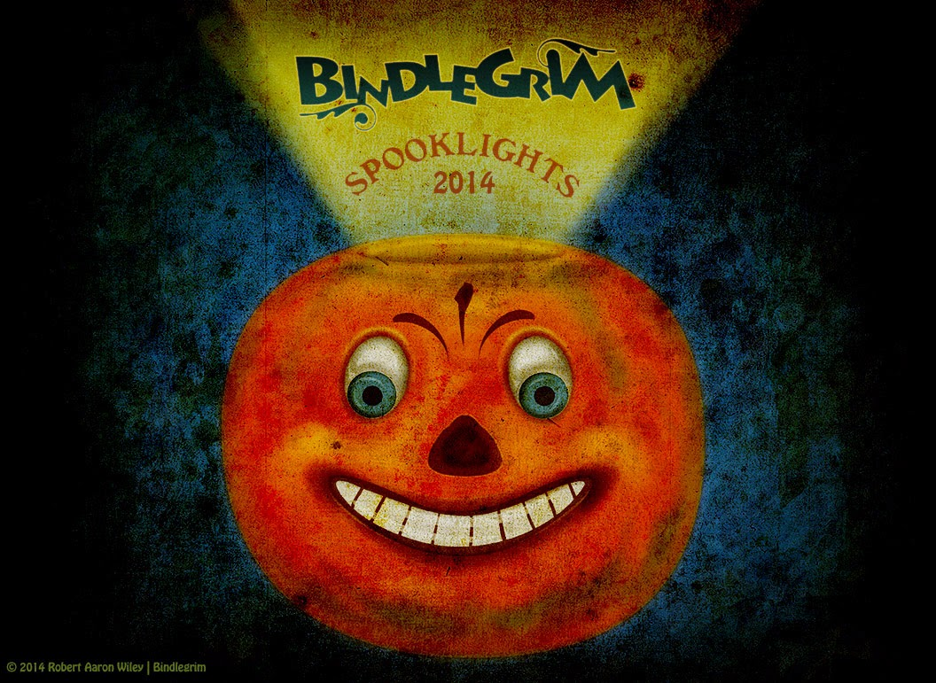 Classiic German-style 1930s orange grinning pumpkin Jack O'Lantern advertisement for Bindlegrim Spooklights 2014