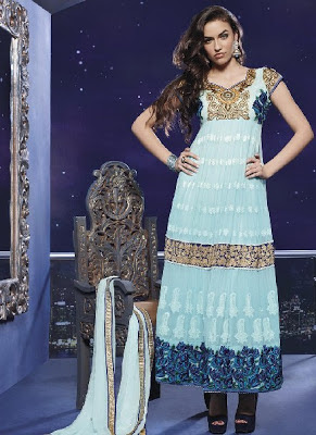 Georgette Pakistani Shalwar Kameez with Zari Embroidery
