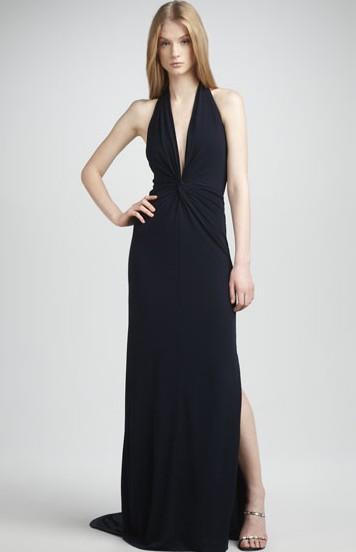 Twist-Front Halter Gown