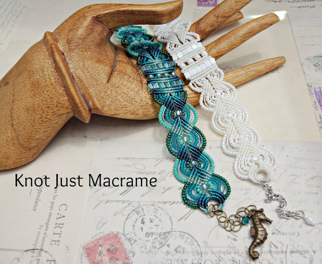 White and ombre teal micro macrame bracelets by Sherri Stokey