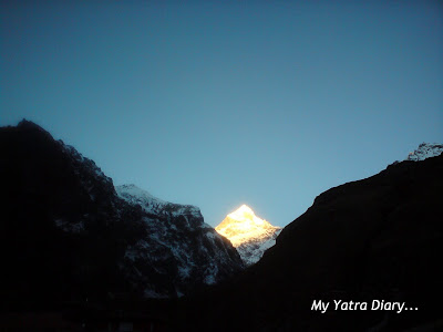 The majestic sight of the Neelkanth peak in the Garhwal Himalayas, 