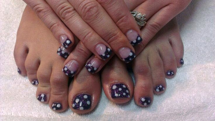 Acrylic back-fill then her matching gel-color manicure/pedicure in black with some navy additive and dotted out in white gel