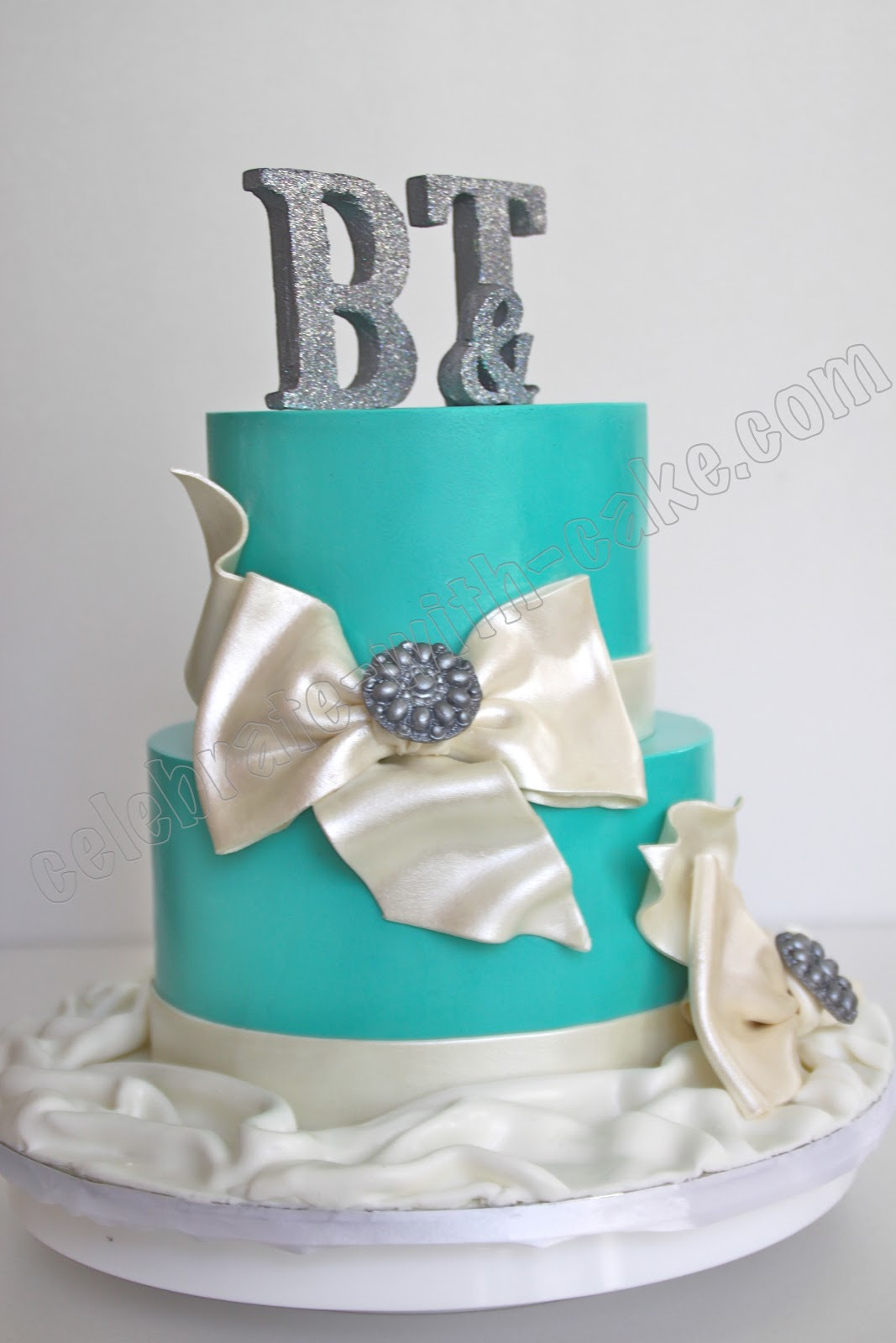 Celebrate with Cake Tiffany Blue Engagement Cake