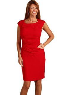 Ellen Tracy Cap Sleeve Dress w/ Ruched Bodice