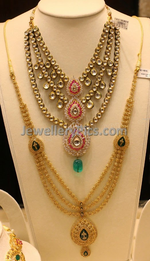 Multi layer jadau necklace and floral step haram