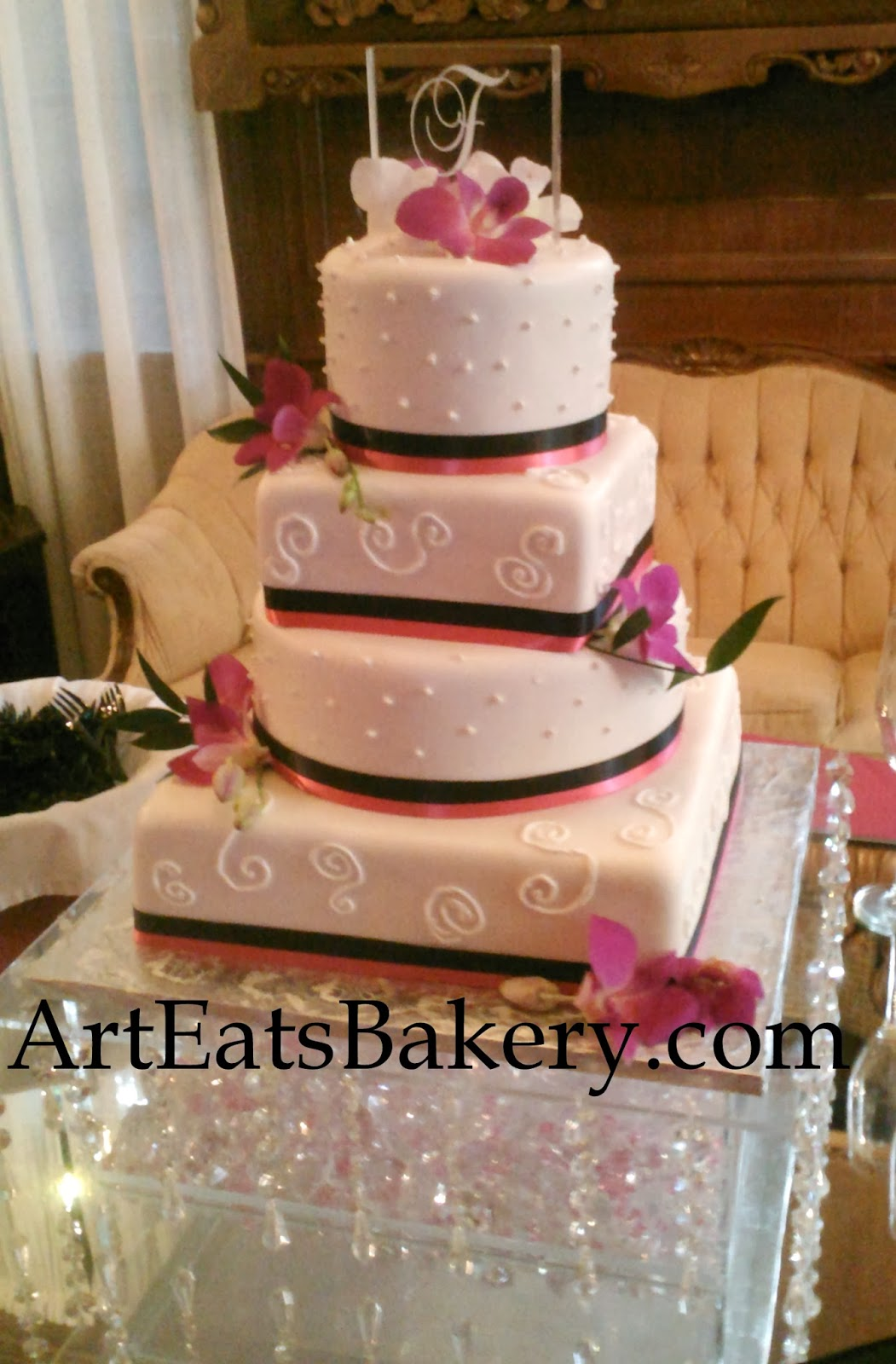 Pink Orchids Navy Cake Ideas and Designs