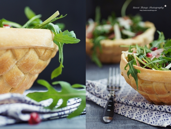 Essbare Schalen aus Teig flechten, Brotschalen, essbare Salatschüssel aus Brot