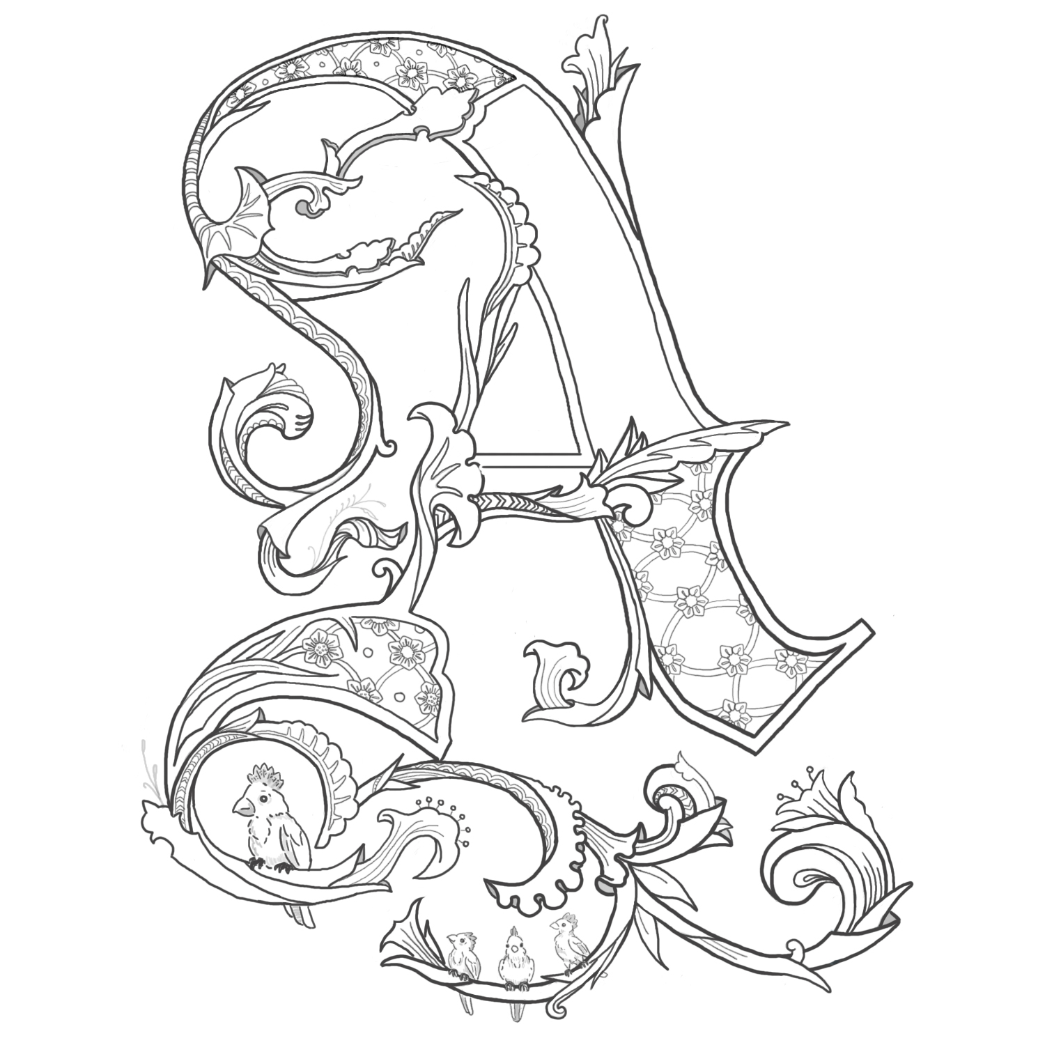 illuminated alphabet coloring pages free - photo#12