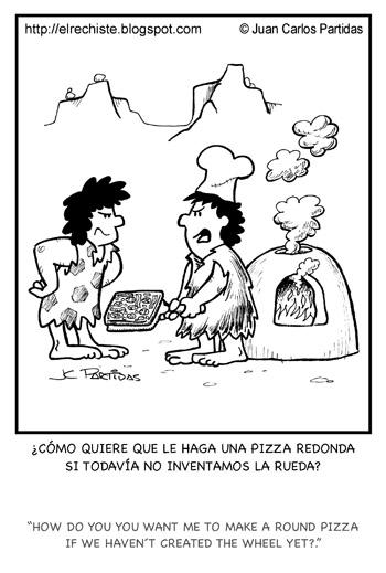 caricatura pizza prehistoria