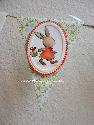 Banner Panel Oval Framed Girl Bunny