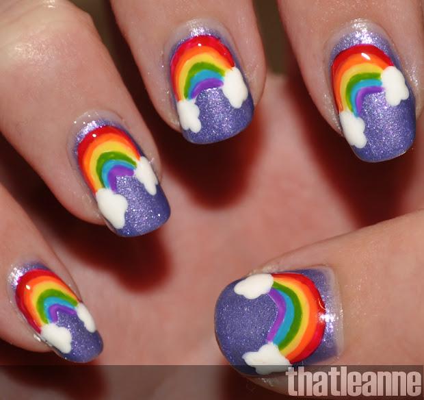 thatleanne rainbow nail art