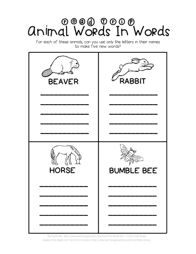 Road Trip Animal Words In Words