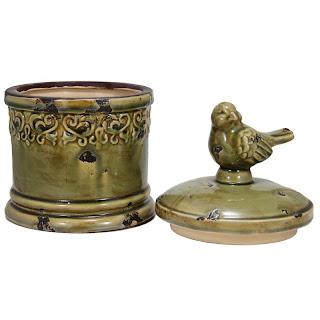potiche, artigos de decoração, objetos de decoração, pote de cerâmica com passarinho