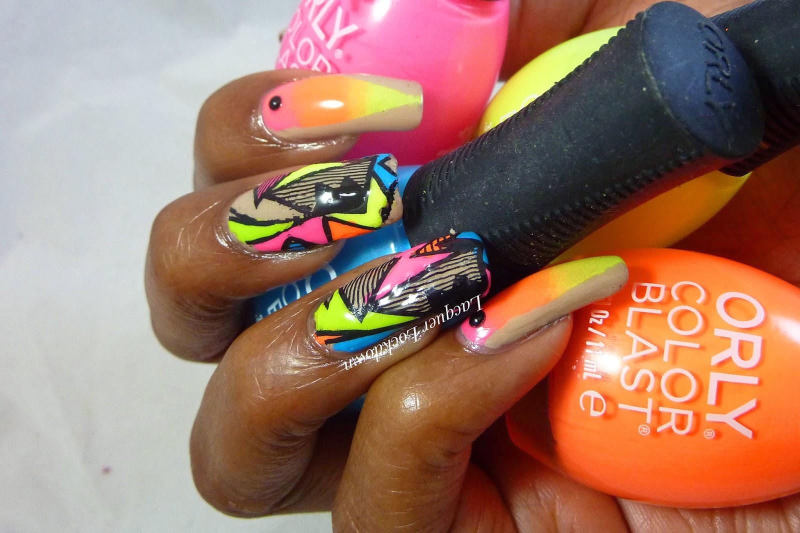 Lacquer Lockdown - Orly Color Blasts, neon nail art, nail art stamping blog, nail art stamping, QGirl, QGirl 12, AliExpress, nail art, diy nail art, cute nail art ideas, nude and neon nail art, mundo de unas, stamping, nail art stamping