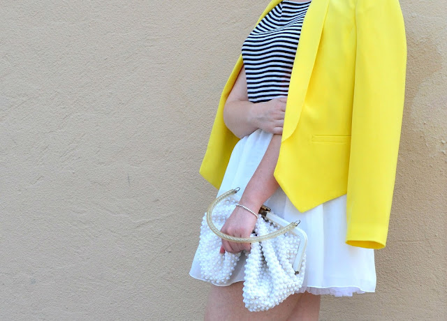 Oasap, blonde, summer, fashion, street style, in style, vintage, yellow, blazer