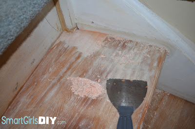 staircase renovation taking carpet off
