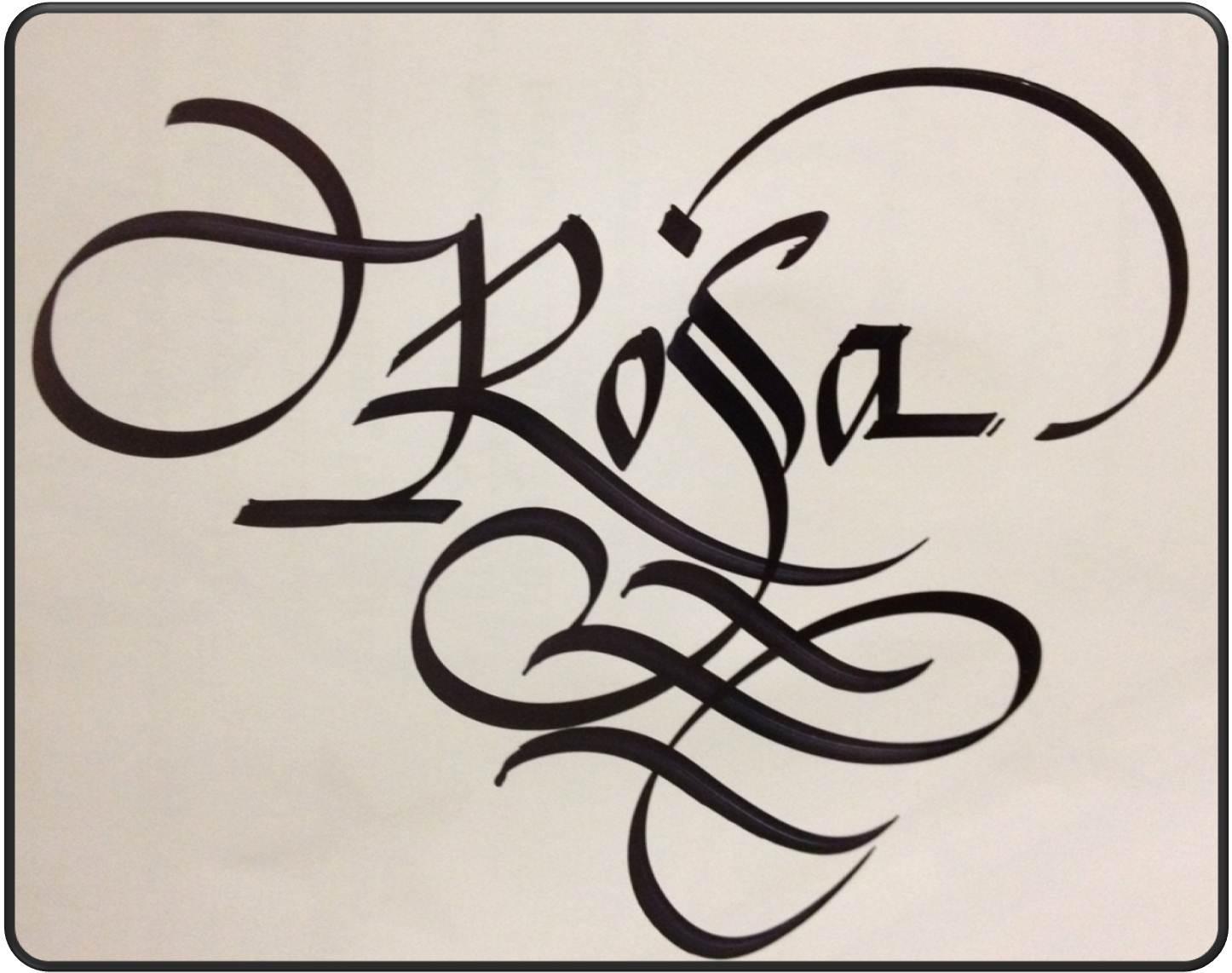 Calligraphy art russian names in rosa