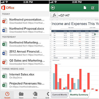 Tampilan Microsoft Office di iPhone