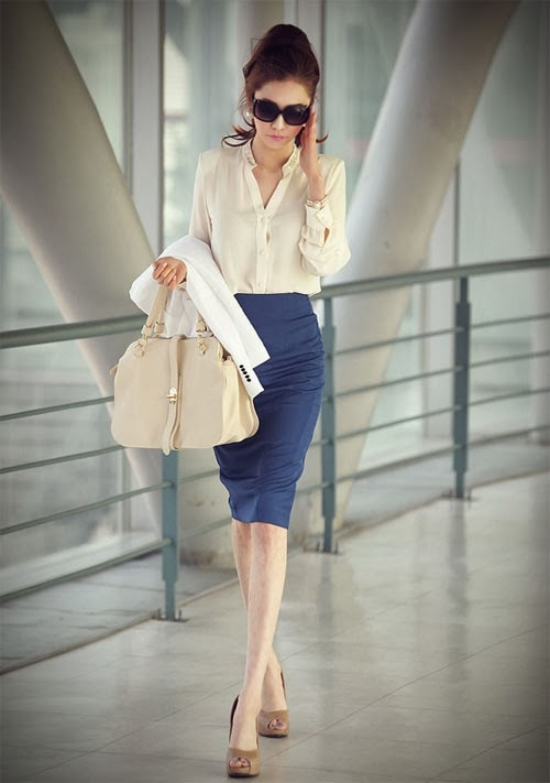 Cream Color Long Sleeve Shirt With Navy Skirt  And Cream Color Leather Bag