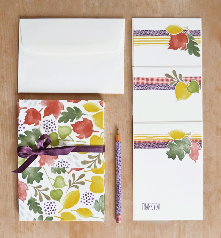 Make a set of thank you cards in a box with designer paper and washi tape by Stampin' Up demonstrator Vicky Hayes