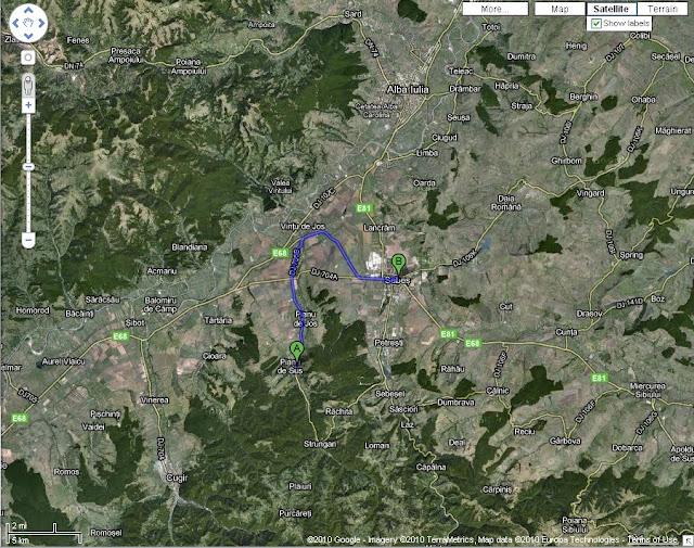 Acces dinspre Sebes - 22 km si de pa autostrada A1 la km 316 intoarcere la 180 grade