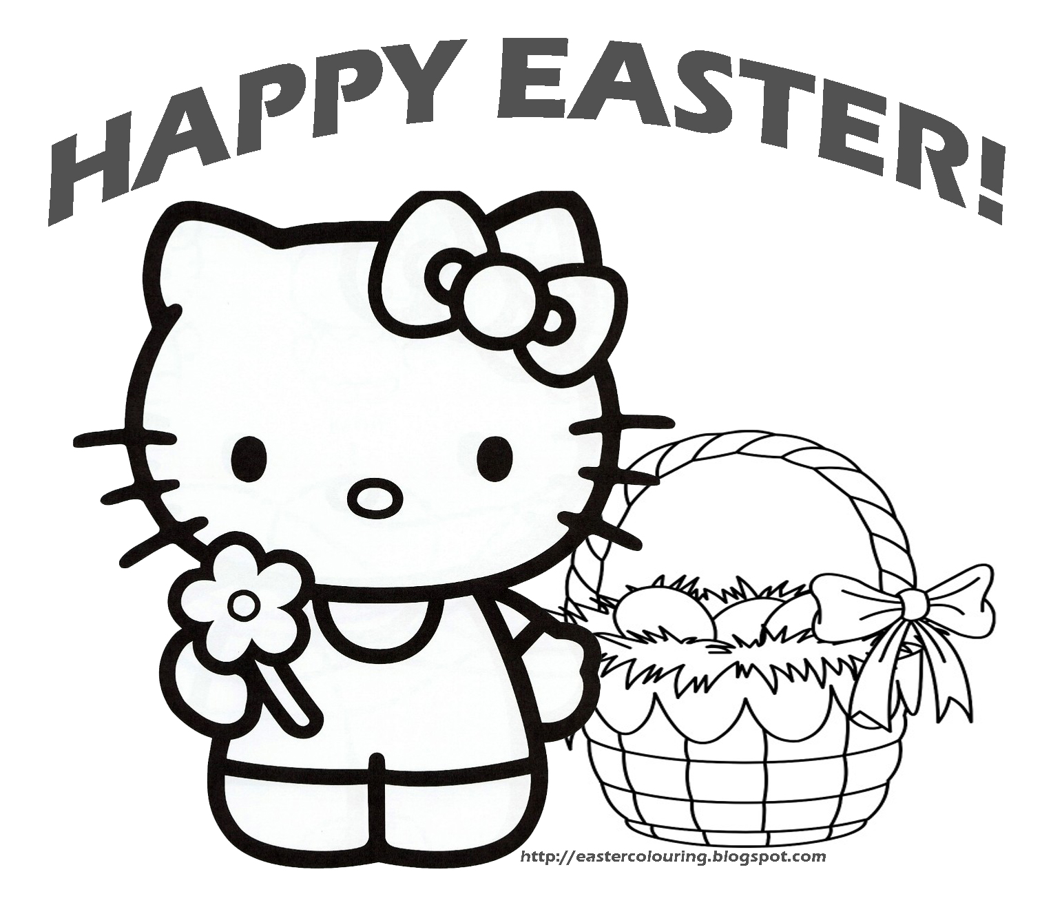 EASTER HELLO KITTY COLORING