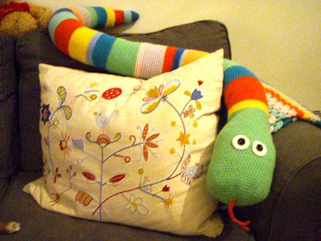 big crochet snake funny plush toy