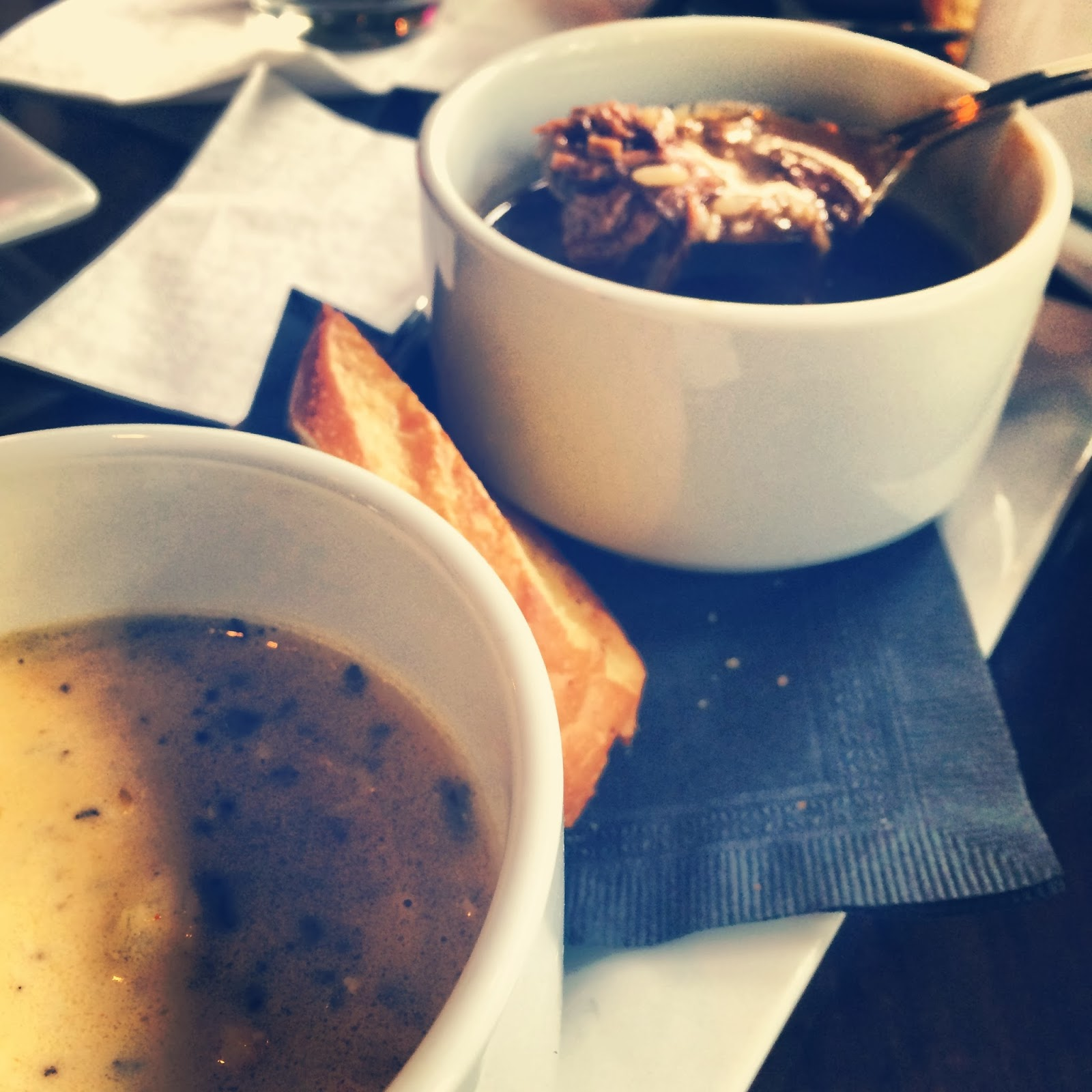 Crab, Corn, and Brie Soup & Duck and Andouille Gumbo  at Stroubes