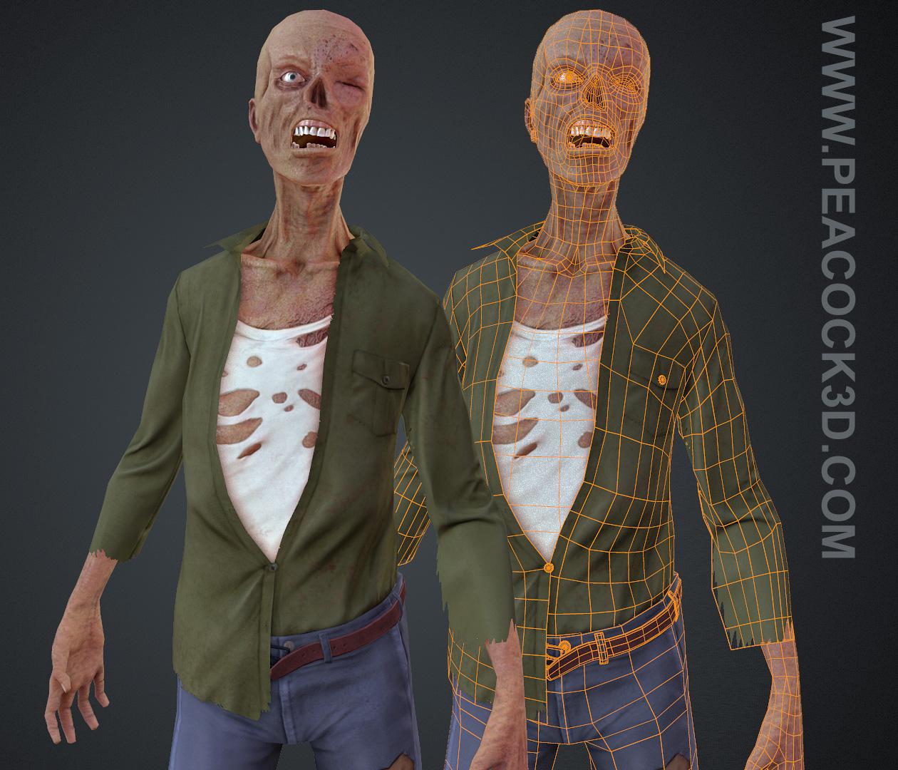 Low Poly Zombie, 3D Zombie, Videogame art, Videogame Zombie, 3D Artist, Jason Peacock, Peacock3d, Marmoset Toolbag, ZBrush, Maya, Low Poly, Low Poly Artist, 3D Modeler