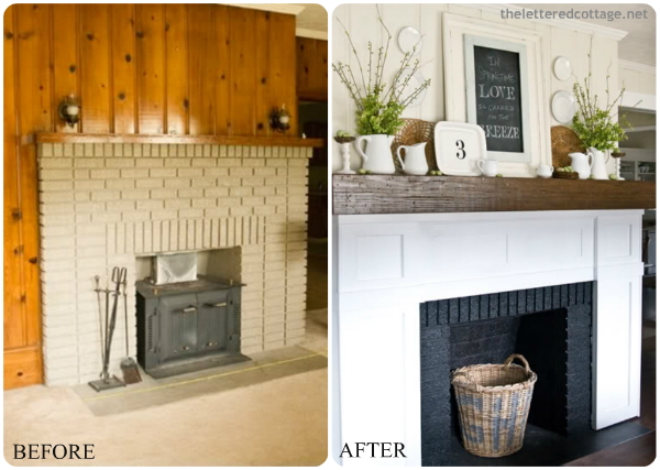 Diy fireplace makeovers faux mantels shelves for Design makeover