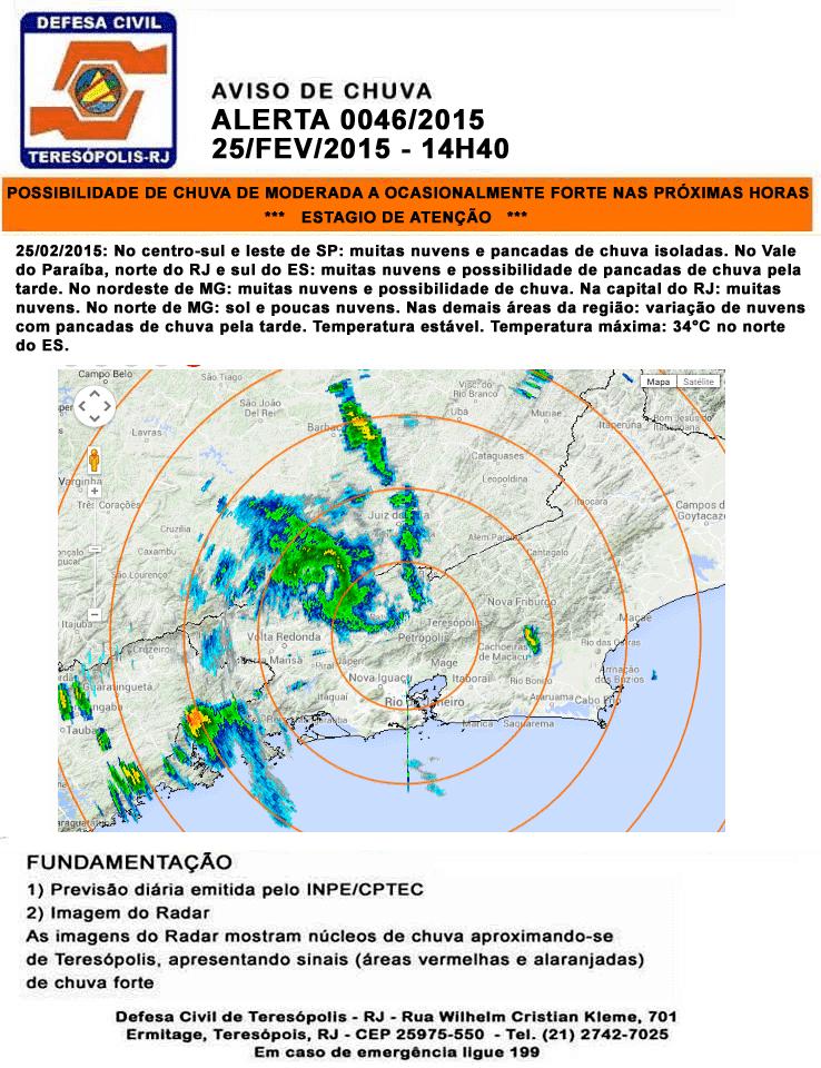 Previsão do Tempo para Teresópolis RJ - Aviso de chuva do Inmet – Instituto Nacional de Meteorologia 25-02-15